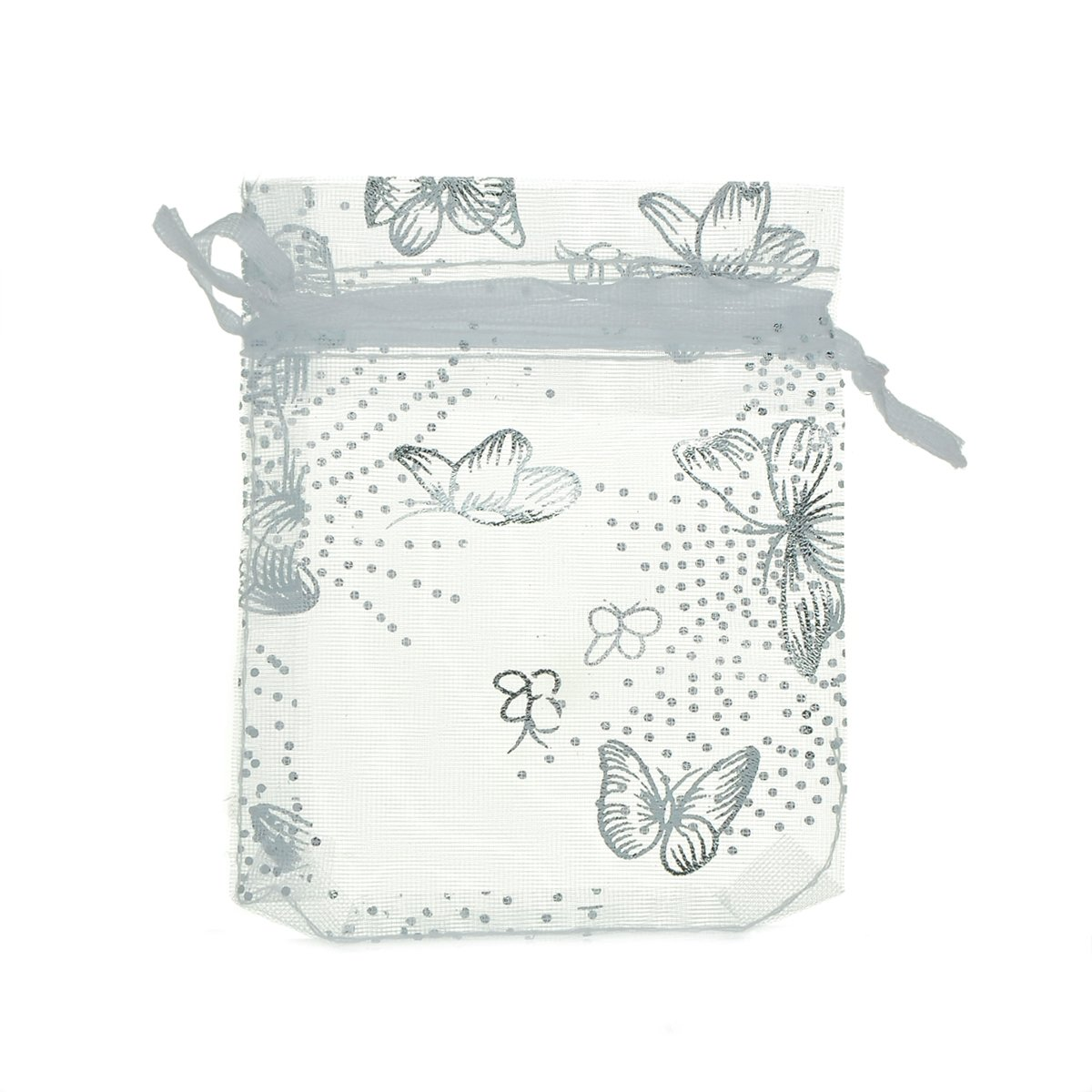 47325ae35b21 HOUSWEETY 100PCs White Butterfly Organza Wedding Gift Bags Jewellery  Pouches 7x9cm