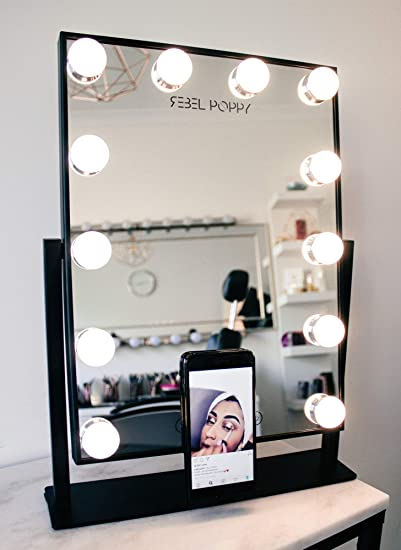 Amazon Com Vanity Mirror With Lights And Phone Mount Hollywood