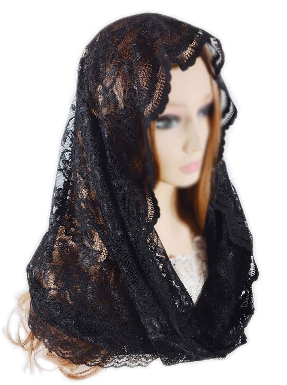 Pamor Infinity Floral Veils Scarf Catholic Church Veil Head Covering Latin Mass Lace Mantilla with Free Hairclip (black)