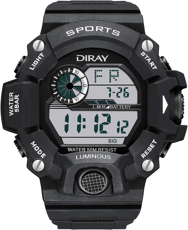 DIRAY Men's Outdoor Sports Adventure Spirit Analog Digital Electronic Strap Alarm Clock Night Vision Multi-Function Watch Leather Strap …