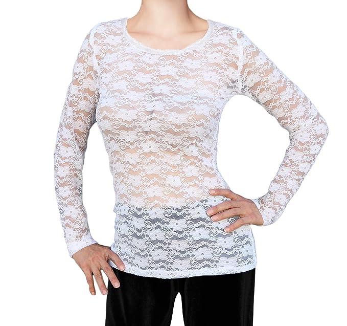 f853ba777d0 Ooh La La Long Sleeve Stretch Lace T Shirt Top Blouse at Amazon Women's  Clothing store: Fashion T Shirts