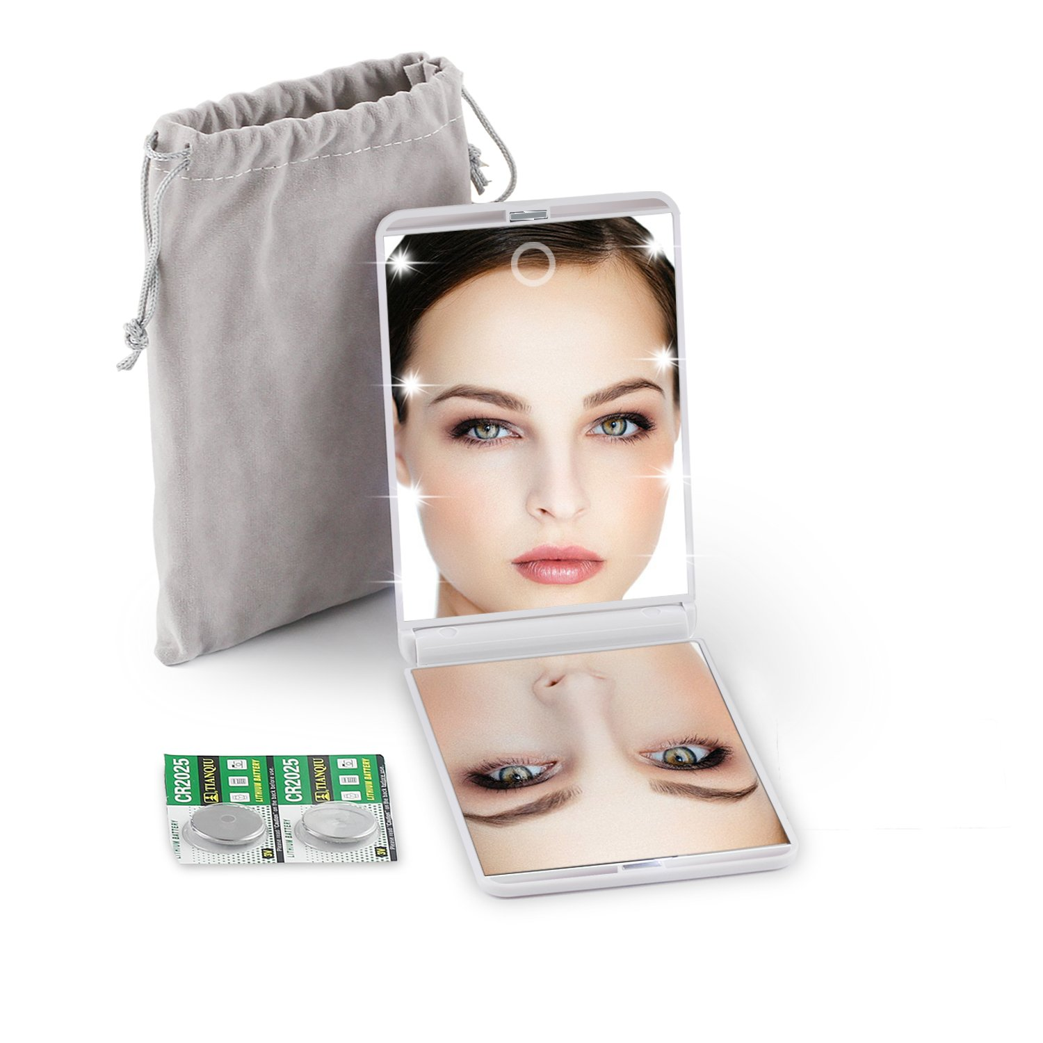 LED Lighted Travel Makeup Mirror, Handheld Illuminated Compact Mirror, Portable Folding Cosmetic Mirror with Light, Touch Dimmable, 1X & 2X Magnification, Pouch & 4 Batteries included, White Shenzhen Wobane Trading Ltd. LED compact mirror -01