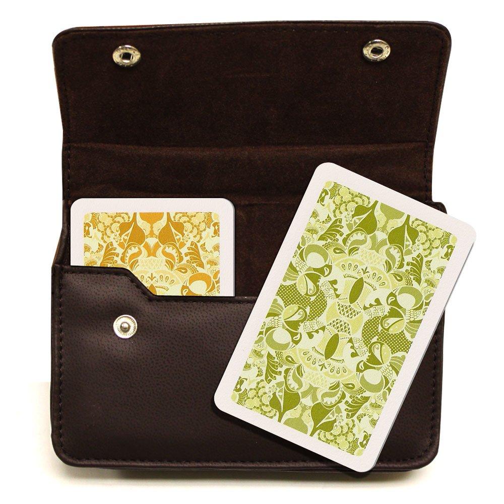 Copag Plastic Cards Leather Case Set Misto Saraswati Green/Orange Bridge, Jumbo Index Brybelly.com