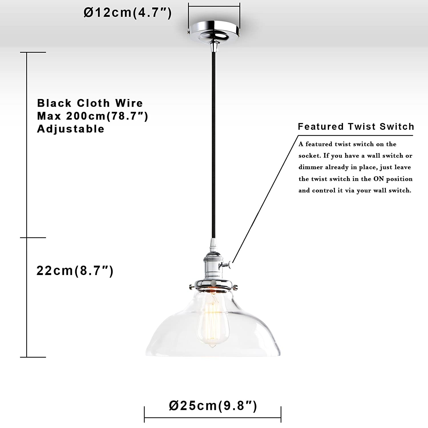 Phansthy 984 Inch Vintage Industrial Pendant Ceiling Light Shade Switch Wiring Diagram Metal Chrome Clear Glass Chandelier Fenthy Fty269a