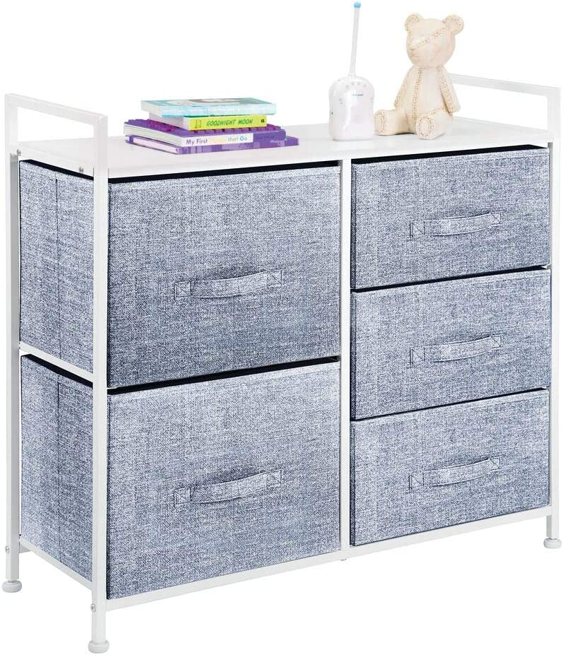 mDesign Wide Dresser Storage Tower - Sturdy Steel Frame, Wood Top, Easy Pull Fabric Bins - Organizer Unit for Child/Kids Bedroom or Nursery - Textured Print - 5 Drawers - White/Navy Blue