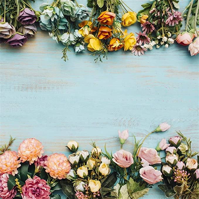 7x10 FT Ivory and Blue Vinyl Photography Backdrop,Forget me not Flowers Pattern Fresh Foliage on Ivory Backdrop Background for Baby Birthday Party Wedding Graduation Home Decoration