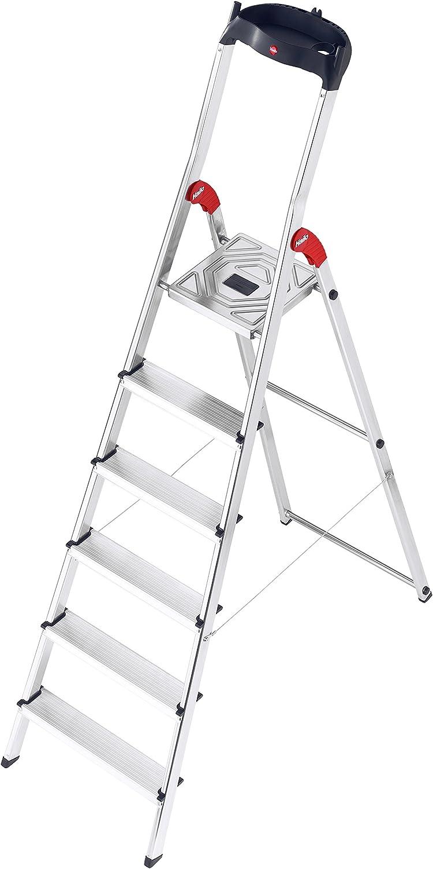 Hailo l60 easyclix - Escalera domestica l60 6 peldaños 190cm aluminio: Amazon.es: Bricolaje y herramientas
