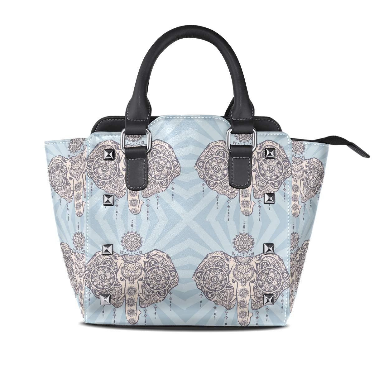 Design1 Handbag Dream Catcher And Ethnic Style Elephant Totem Genuine Leather Tote Rivet Bag Shoulder Strap Top Handle Women