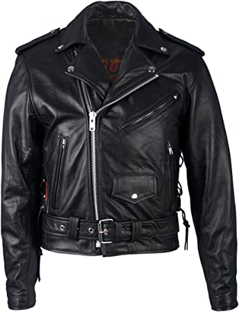 Vintage Men\u2019s 90\u2019s Black Leather Biker Jacket medium Brando Style-Size 40
