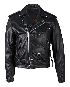 Hot Leathers chaqueta de Moto, negra, clásica, con forro con ...