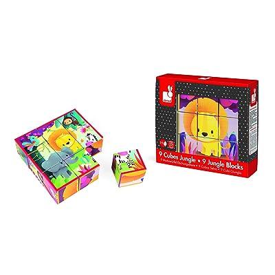 Janod Kubkid - 9 Blocks - Jungle Animals Puzzle: Toys & Games