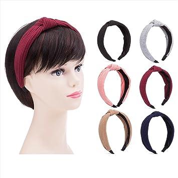 Amazon.com   Yigou beauty Pack of 6 Wide Plain Fashion Headbands Knot  Turban Headband for Women Girls (Hairbands 6pcs) (Multi-colored)   Beauty 41a6f55c646