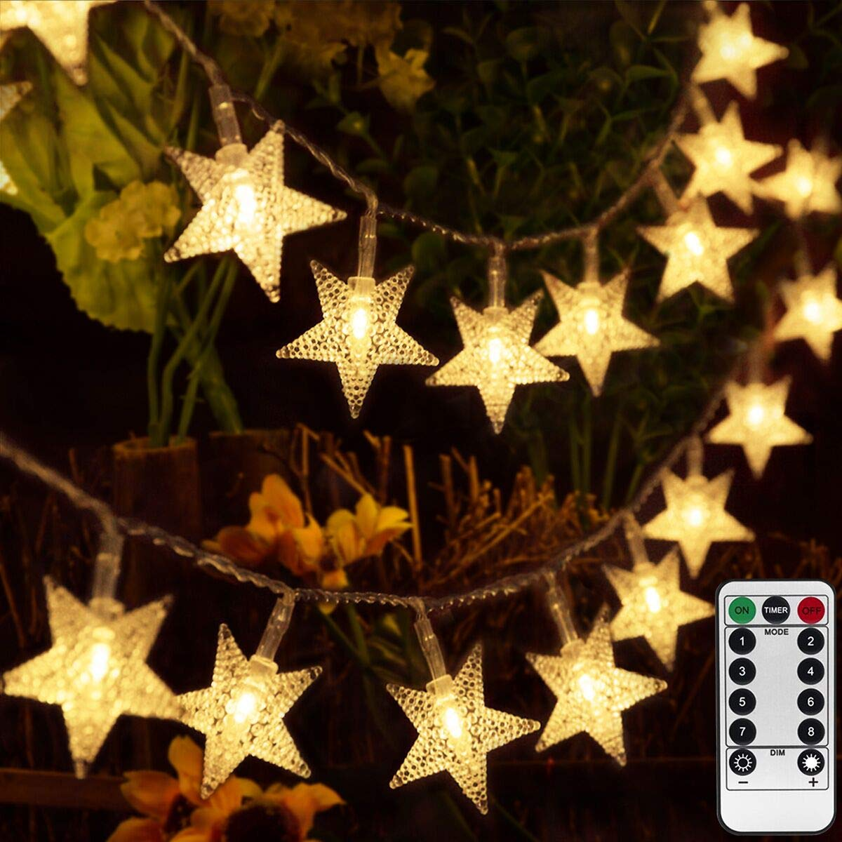 kingleder 25ft 50 LED Xmas Star Light Fairy String Light w/Remote for Christmas Weddings Family Festival Party (Warm White)