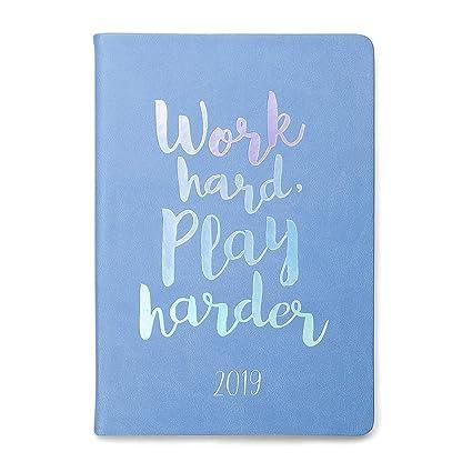 "2019 Eccolo Designer ""Work Hard Play Harder"" Flexible Agenda Planner, Monthly & Weekly Views, 5.25 x 7.75"