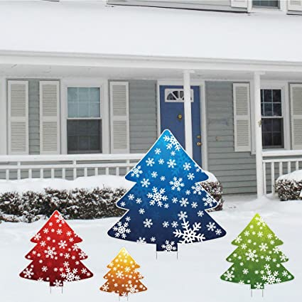 victorystore yard sign outdoor lawn decorations christmas tree shaped corrugated plastic yard decorations - Christmas Lawn Decorations Amazon