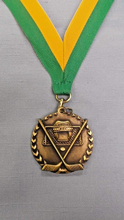 """gold HOCKEY 2/"""" medal with white neck ribbon trophy"""