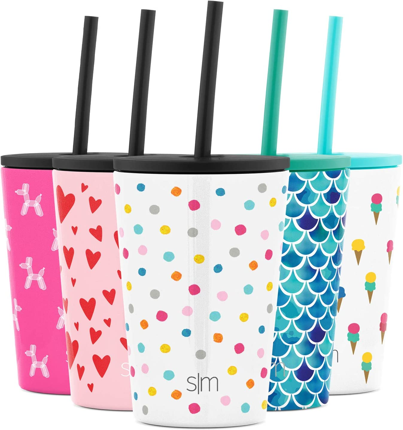 Simple Modern Kids Cup 12oz Classic Tumbler with Lid and Silicone Straw - Vacuum Insulated Stainless Steel for Toddlers Girls Boys Polka Play