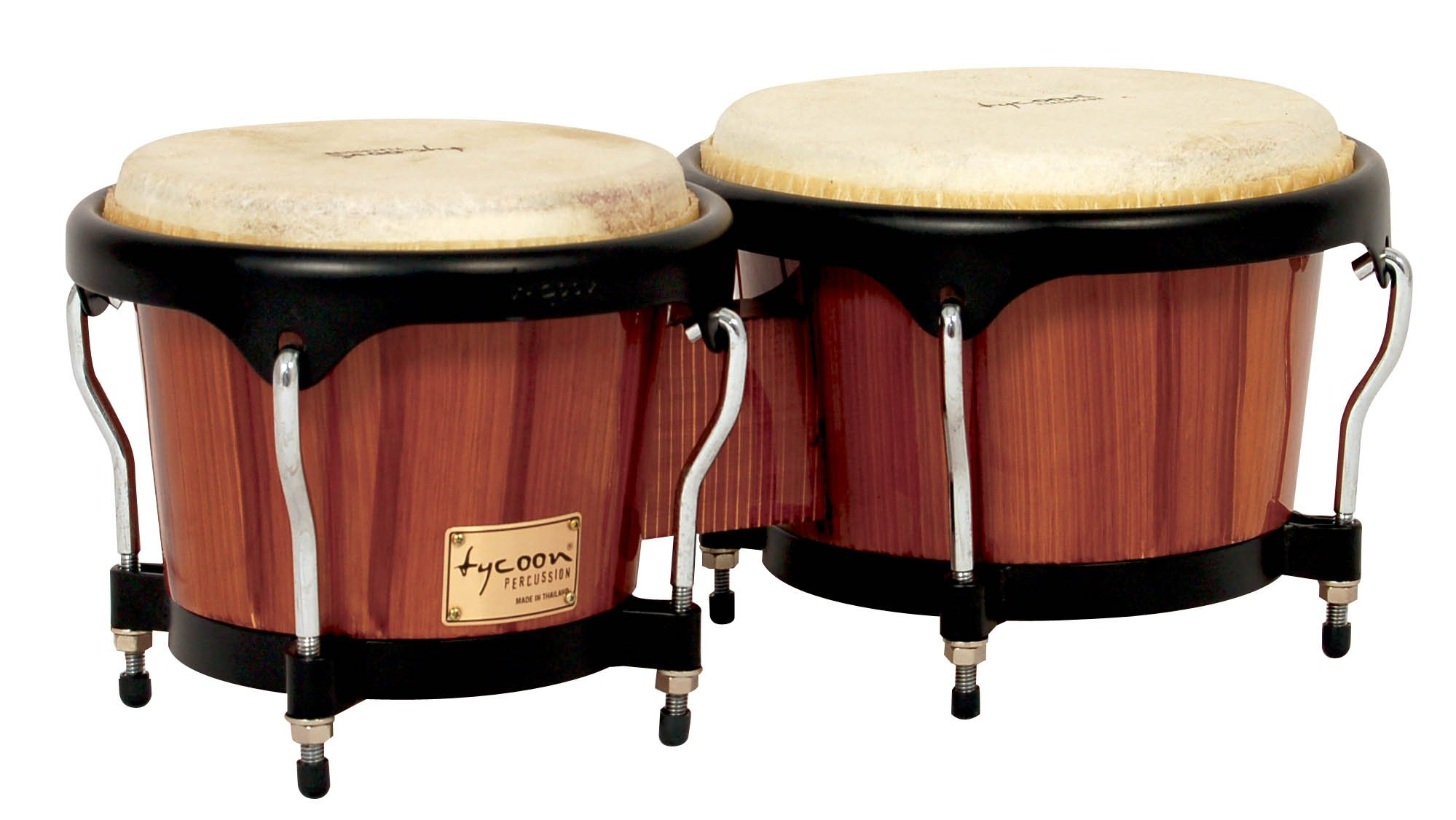 Tycoon Percussion 7 Inch & 8 1/2 Inch Artist Series Hand Painted Bongos - Brown Finish