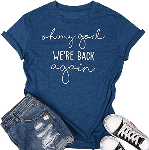 Letter Print T-Shirt for Wome Teen Girls Graphic Short Sleeve Casual T Shirt Top with Funny Sayings Blessed Shirt Blouse