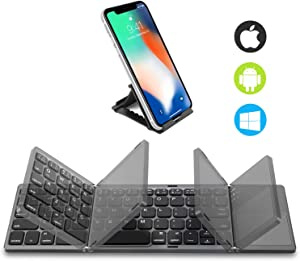 Foldable Bluetooth Keyboard with Touchpad - Samsers Portable Wireless Keyboard with Stand Holder, Rechargeable Full Size Ultra Slim Pocket Folding Keyboard for Android Windows IOS Tablet & Laptop-Gray