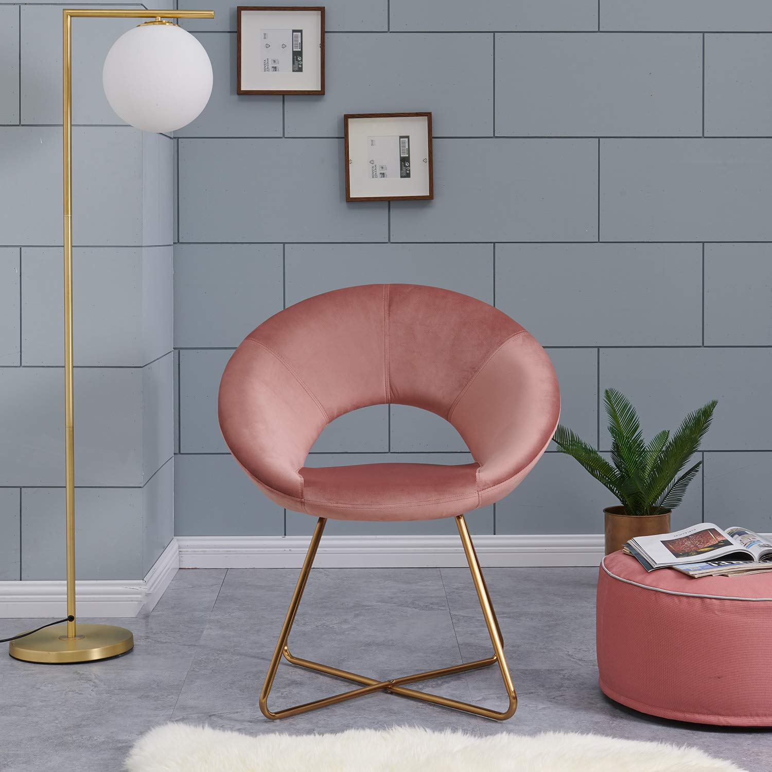 Charmant Amazon.com: Contemporary Modern Velvet Chairs Single Sofa Comfy Upholstered Arm  Accent Chair Living Room Bedroom Furniture Pink: Kitchen U0026 Dining