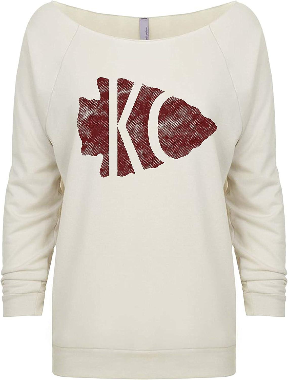 Womens Football Heart KC Light Weight Raglan Sweatshirt Kansas City Royaltee Arrowhead Shirts
