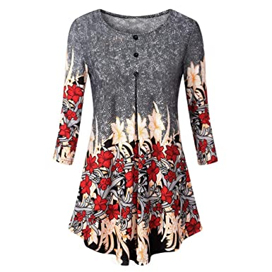 7656b2da81d45 COOKI Womens Floral Printed Tunic Shirts 3 4 Roll Sleeve Notch Neck Tunic  Tops Casual
