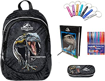 Jurassic World. Mochila escolar Double by Gut Nueva colección 2019 + Estuche con cremallera + Diario negro azul + Llavero silbato + 10 bolígrafos de colores: Amazon.es: Deportes y aire libre