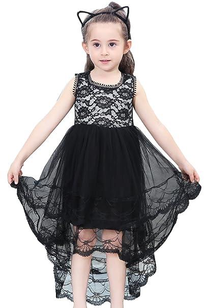 Happy Cherry - Vestido de Tul Encaje sin Manga para Niñas Bebés de 1-9 años Cola Larga para Verano Fiesta Ceremonia - Negro: Amazon.es: Ropa y accesorios
