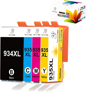 MS Deer 934XL 935XL Ink Cartridges Replacement for 934 XL 935 XL, Work with Officejet 6812 6815 6820 6825 Officejet Pro 6230 6830 6835 Printer (4PK(1BK+1C+1M+1Y))