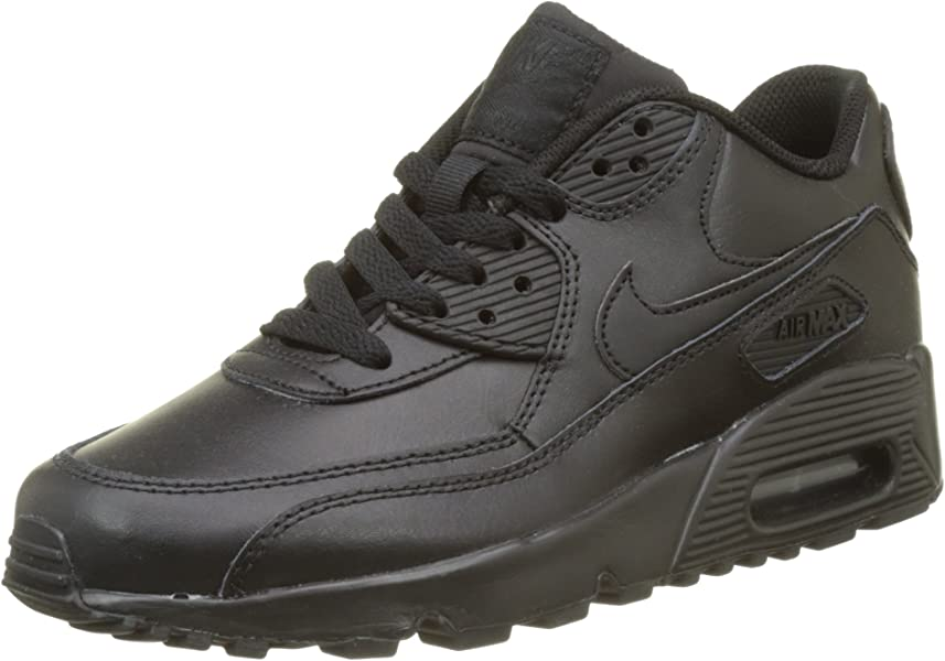 59aa77f7952a1 Amazon.com | Nike 833412-001 Kid's Air Max 90 Leather Running Shoes,  Black/Black, 3.5M US Big Kid | Running