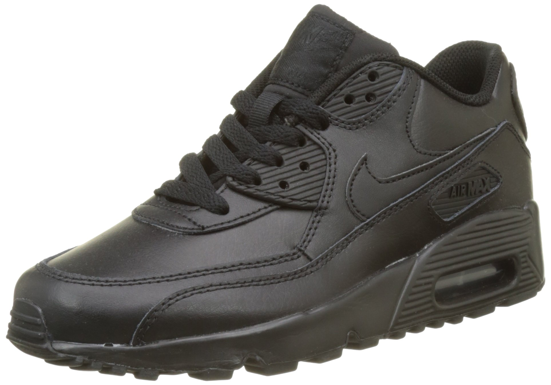 Nike 833412-001 Kid's Air Max 90 Leather Running Shoes, Black/Black, 5 M US Big Kid