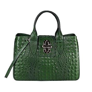 0001fdbfca887 OBC Made in Italy Damen Echt Leder Tasche Kroko-Prägung Business Shopper  Aktentasche Schultertasche Handtasche