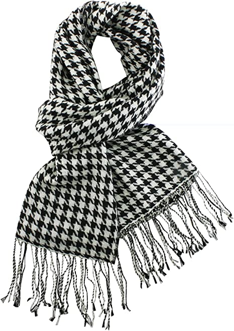 NEW BLACK WHITE CHECK SCARF HOUNDSTOOTH WINTER SHAWL PASHMINA WOMENS MENS THICK