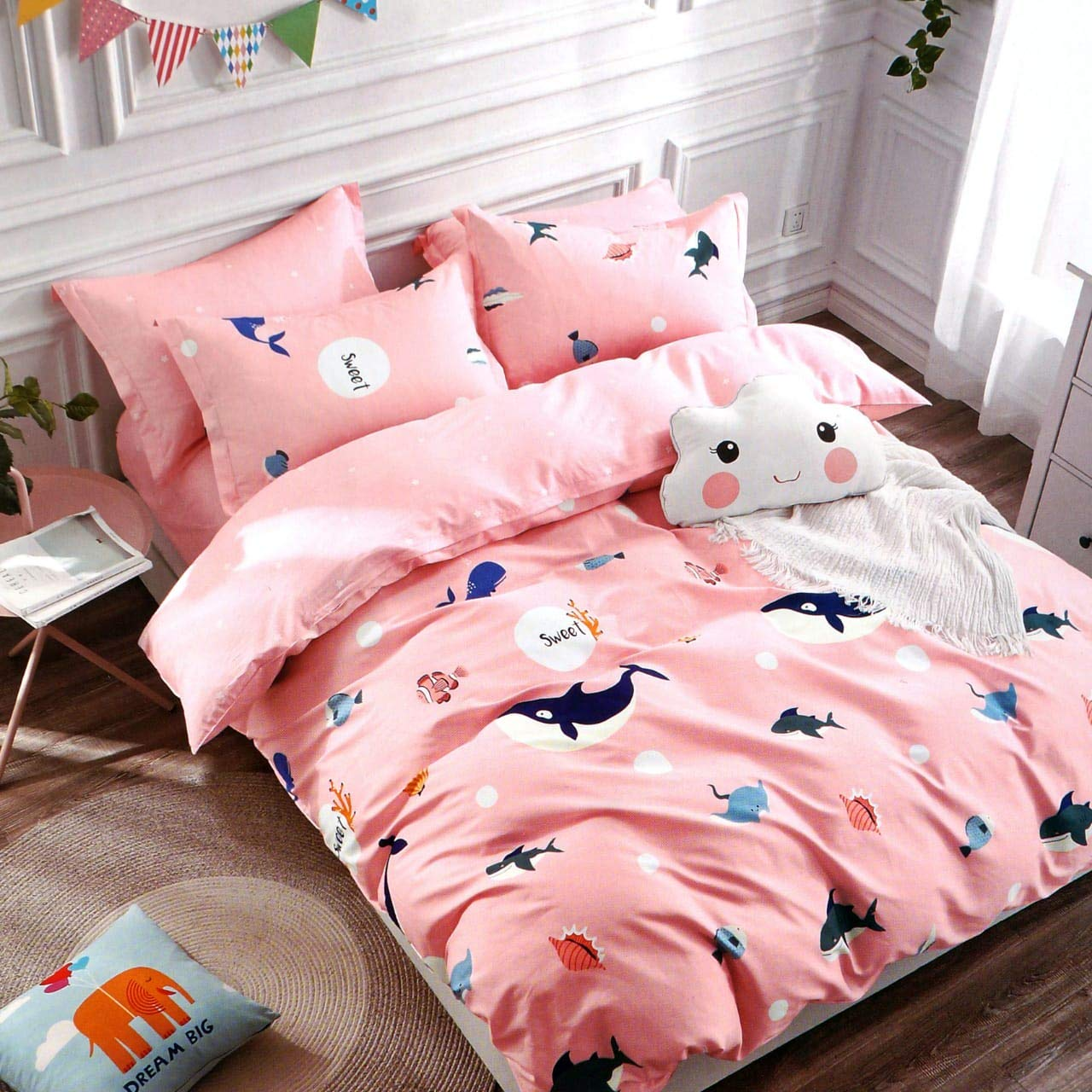 Divvay Homes, 120 TC Microfiber Kids Single Cartoon - Pink Fish Single 3D Printed Bedsheet