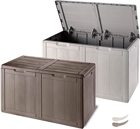 Baúl de resina, efecto madera, para jardín, exterior o interior: Amazon.es: Hogar