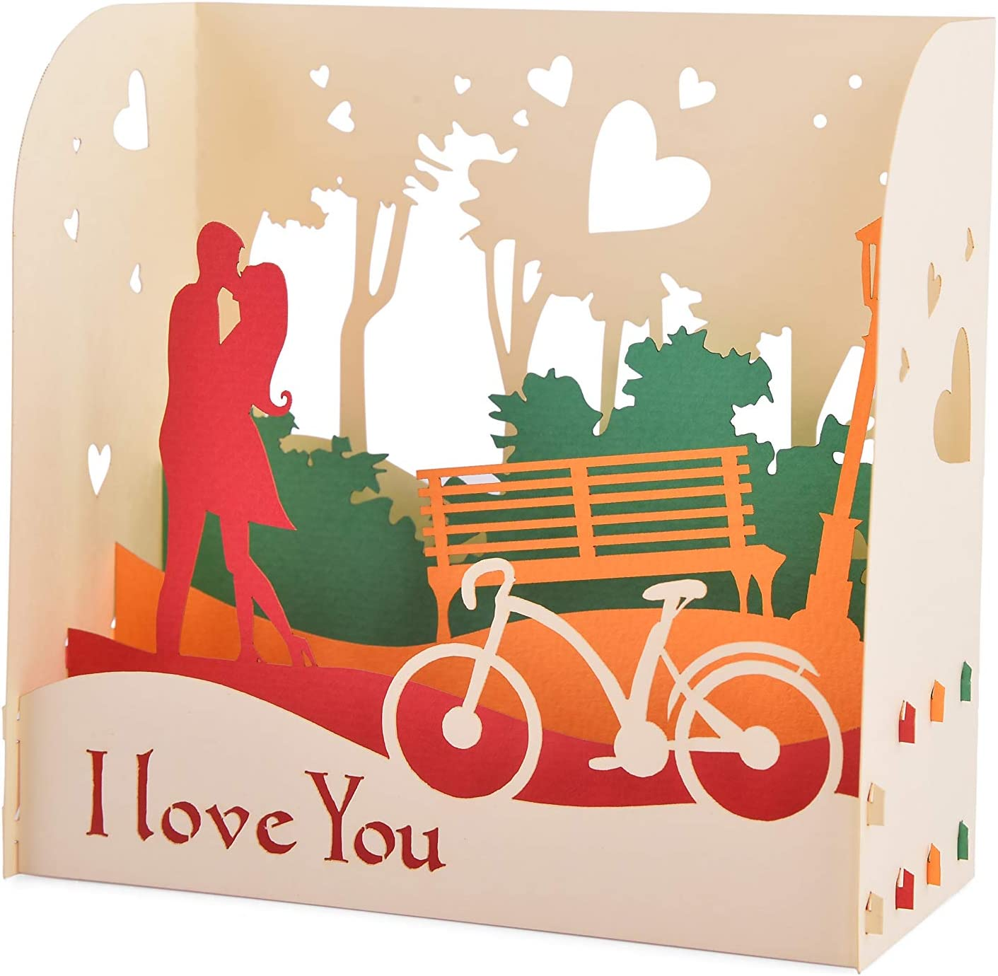 Lot de 2 Fait /à la main Jolie carte pop-up 3d Love Box 01 dans la collection de carte danniversaire, carte damour, carte de remerciement, carte de la Saint-Valentin, carte de fleur