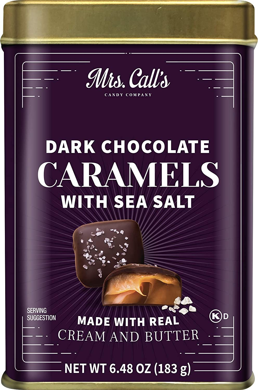 Mrs. Call's Mini Gift Tin Dark Chocolate Sea Salt Caramels, Gourmet Soft Caramel Premium Chocolate, Individually Wrapped, Naturally Gluten Free, 6 x 6.48 oz, Approx. 8 pc per tin