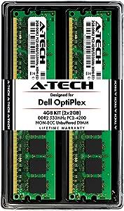 A-Tech 4GB (2X 2GB) Max Memory RAM Kit for Dell Optiplex 320, 210L, 210LN, (Minitower, Desktop) - DDR2 533MHz PC2-4200 Non-ECC DIMM Modules