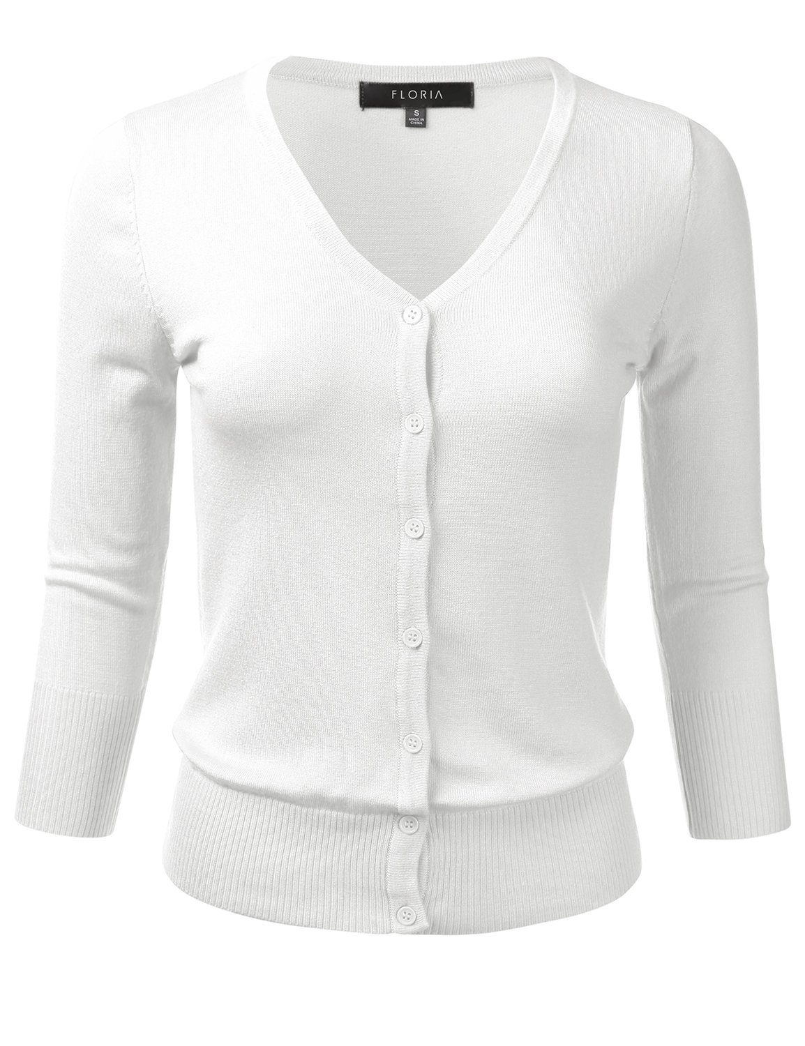 FLORIA Womens Button Down 3/4 Sleeve V-Neck Stretch Knit Cardigan Sweater White L