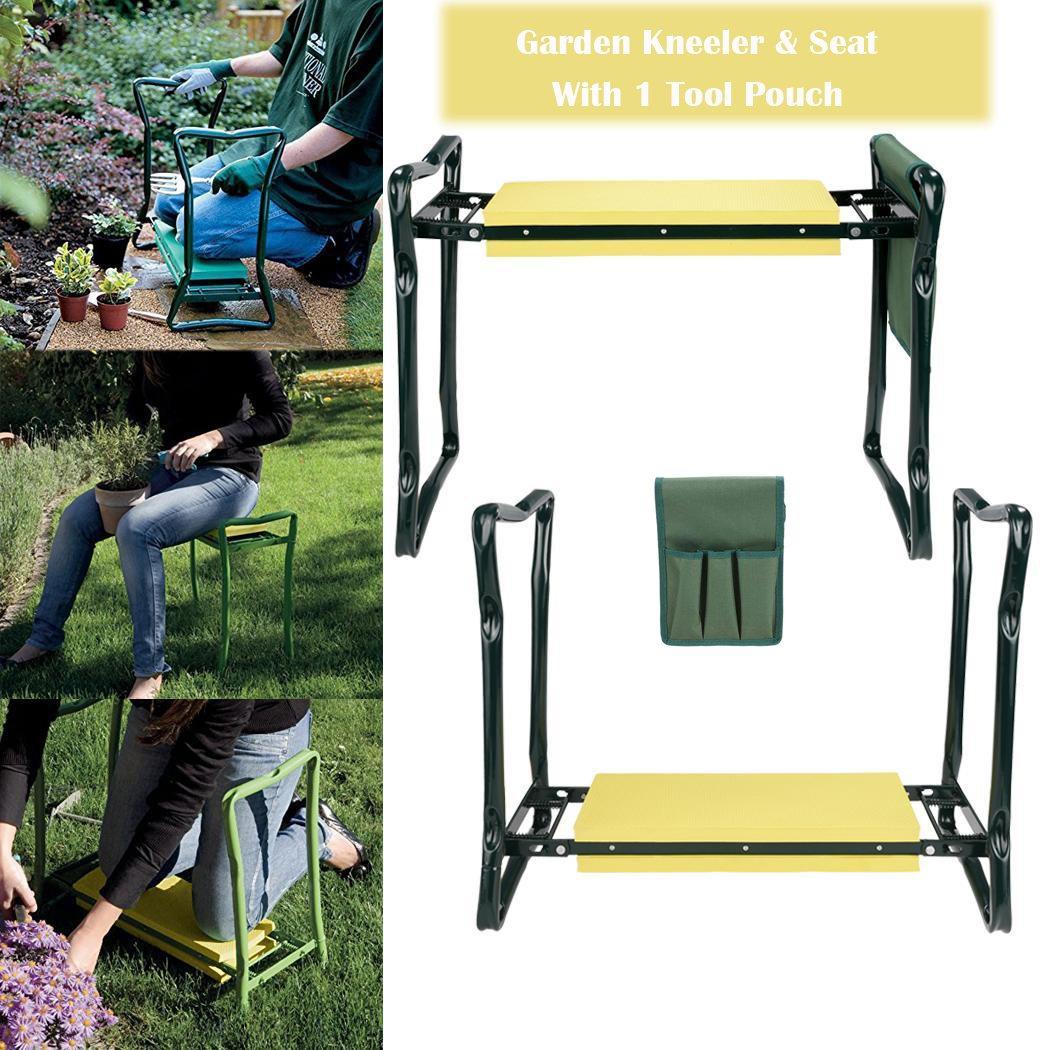 Evokem Garden Kneeler Bench, Foldable Garden Kneeler Seat with Tool Pouch and EVA Kneeling Pad Handles (Yellow)