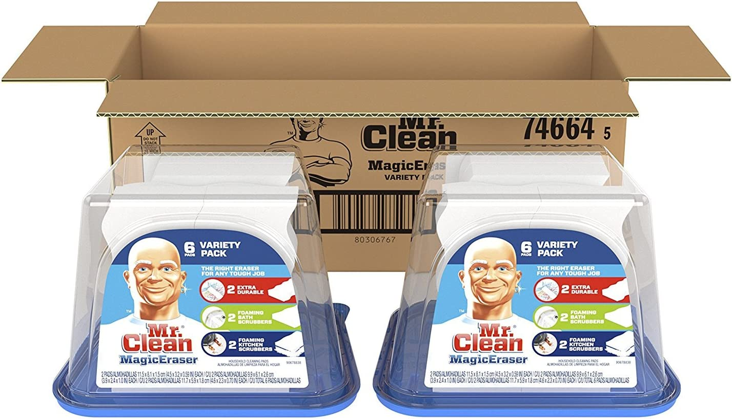 Magic Eraser by Mr. Clean Variety Pack, Cleaning Pads with Durafoam, 6 Count, Pack of 2