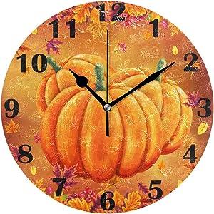 Autumn Pumpkin Maple Lraf Wall Clock Silent Non Ticking Fall Harvest Clocks Battery Operated Vintage Desk Clock 10 Inch Quartz Analog Quiet Bedroom Living Room Home Decor