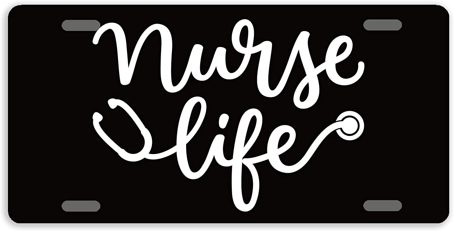 Anwei License Plate Covers Nurse Life License Plate Decorative Auto Tag Car Tag Sign Metal Novelty License Plate 4 Holes 12 x 6 Inches