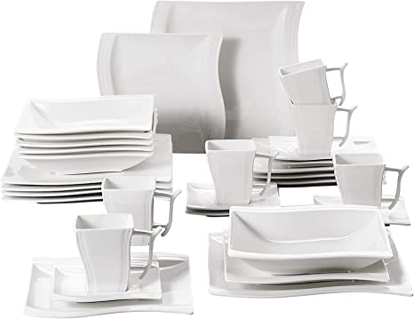 Malacasa 30 Pieces White Dinnerware Set Dishes Porcelain Square Dinner Plates Soup Plates And Dessert Plates Mugs And Saucers Set Service For 6 Series Flora Kitchen Dining