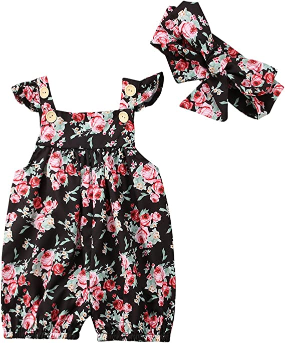 Baby Girl Romper Floral Tassel Bodysuit Sunsuit Summer Beach Clothes Outfits