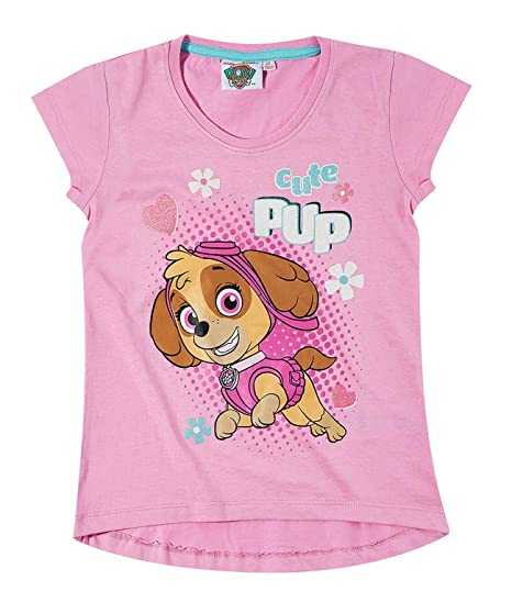 Paw Patrol Chicas Camiseta Manga Corta - Fucsia: Amazon.es: Ropa y ...