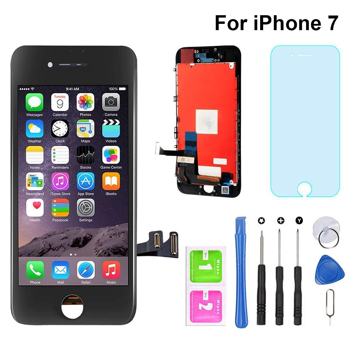 for iPhone 7 Screen Replacement Black 4.7'' LCD Display Touch Screen Digitizer Assembly Set with Free Repair Tools (iPhone 7, Black) by EOE