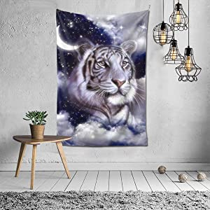 NiYoung Hippie Hippy Abstract Wall Hanging Tapestry, Boho Mandala Bedding Tapestry for Living Room Bedroom Dorm Room - Galaxy Tiger Moon Cloud Wall Art Tapestries Bedspread