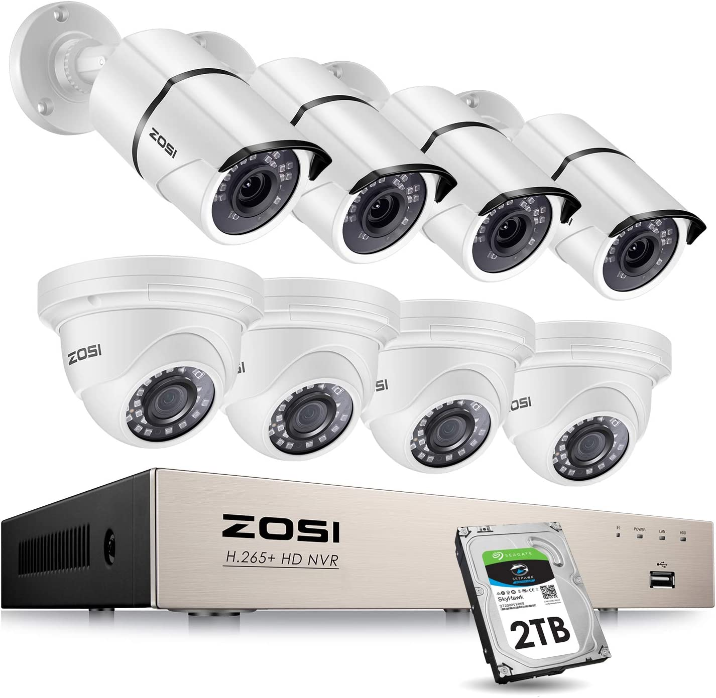 ZOSI 8CH 5MP PoE Security Camera System Outdoor with 2TB HDD, H.265+ 8Channel 5MP NVR Security System and 8pcs Wired 5MP Weatherproof PoE IP Cameras with 120ft Night Vision,Motion Alert,Remote Access